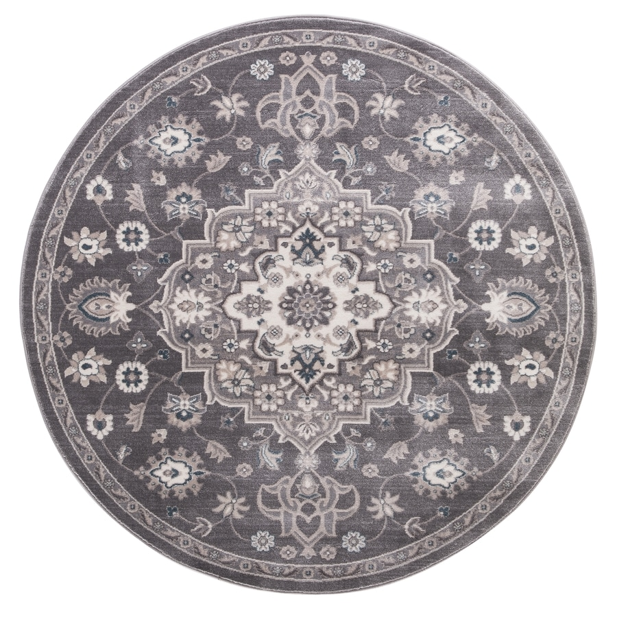 Concord Global Palermo Gray Round Indoor Machine-Made Oriental Area Rug (Common: 8 x 8; Actual: 7.83-ft W x 7.83-ft L x 7.83-ft Dia)