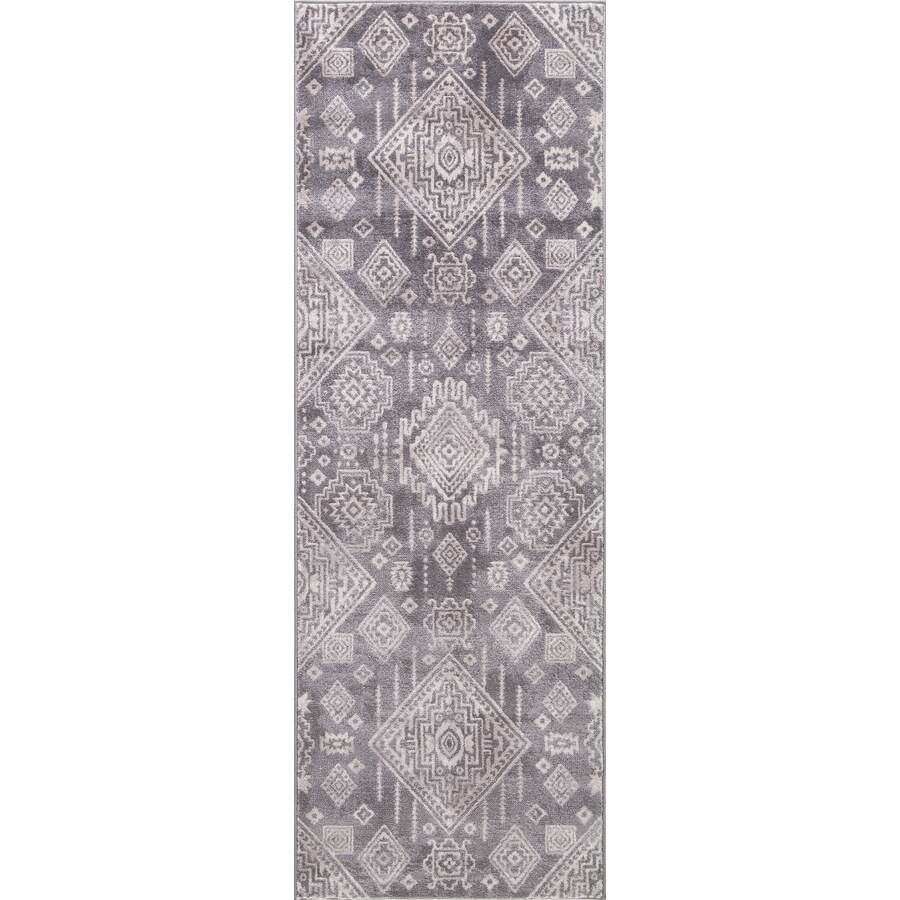 Concord Global Palermo Gray Rectangular Indoor Machine-Made Oriental Runner (Common: 2 x 8; Actual: 2.58-ft W x 7.58-ft L)