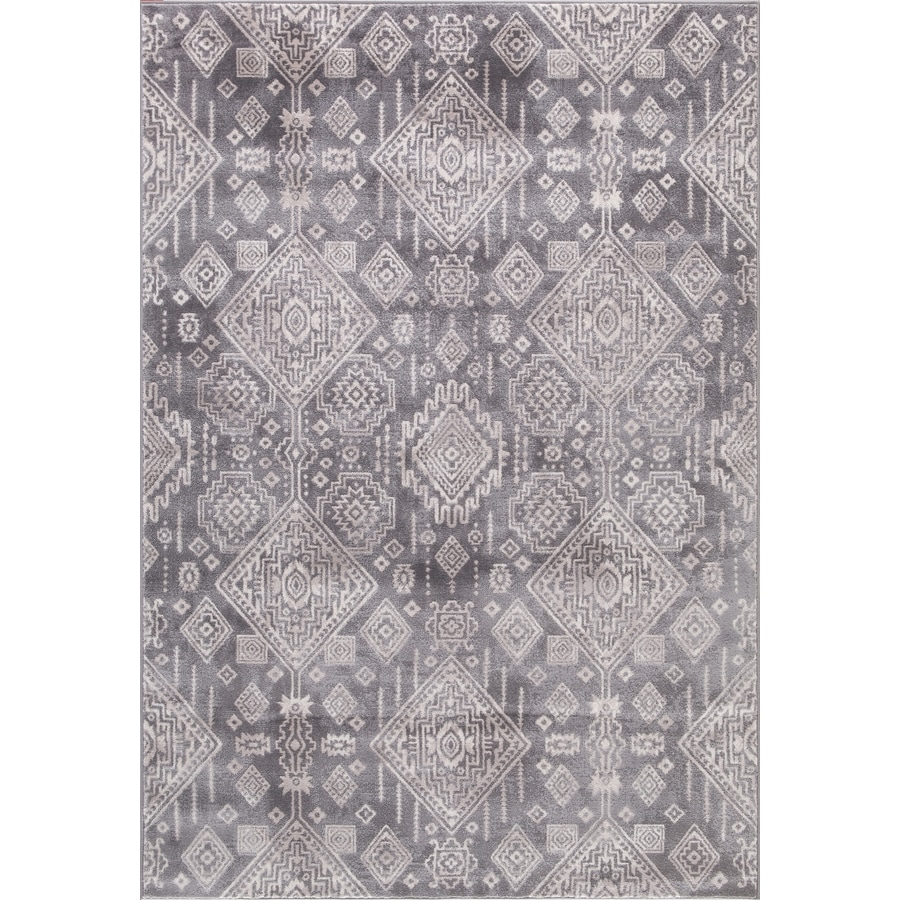 Concord Global Palermo Gray Rectangular Indoor Machine-Made Oriental Area Rug (Common: 5 x 8; Actual: 5.25-ft W x 7.58-ft L)