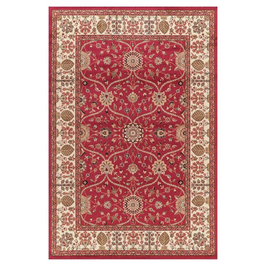 Concord Global Valencia Red Indoor Oriental Area Rug (Common: 5 x 8; Actual: 5.25-ft W x 7.58-ft L x 5.25-ft dia)