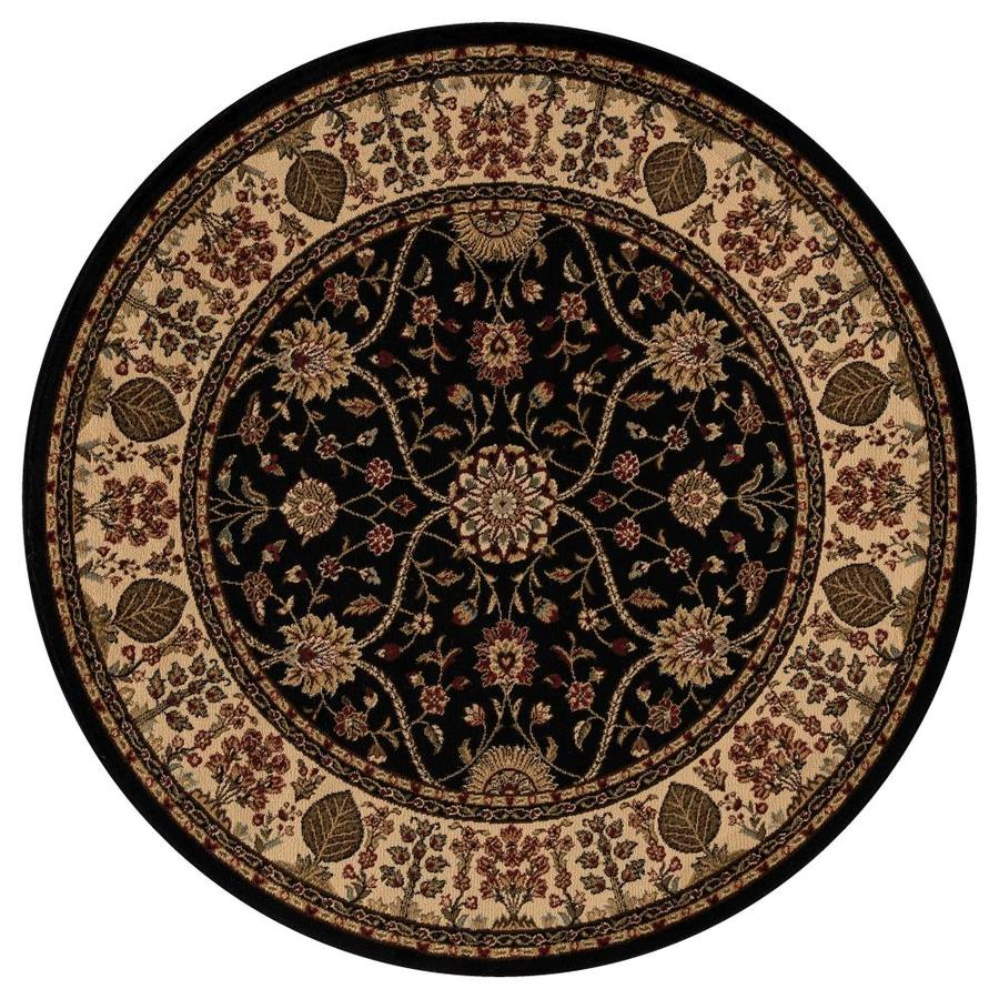 Concord Global Valencia Black Round Indoor Woven Oriental Area Rug (Common: 5 x 5; Actual: 5.25-ft W x 5.25-ft L x 5.25-ft Dia)