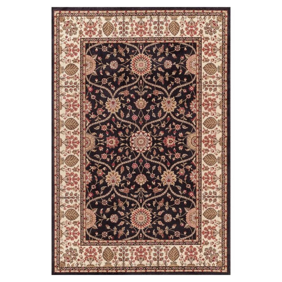 Concord Global Valencia Black Rectangular Indoor Oriental Area Rug (Common: 4 x 6; Actual: 3.92-ft W x 5.58-ft L x 3.92-ft dia)