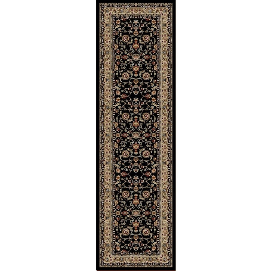 Concord Global Valencia Black Rectangular Indoor Woven Oriental Runner (Common: 2 x 8; Actual: 27-in W x 91-in L x 2.25-ft Dia)
