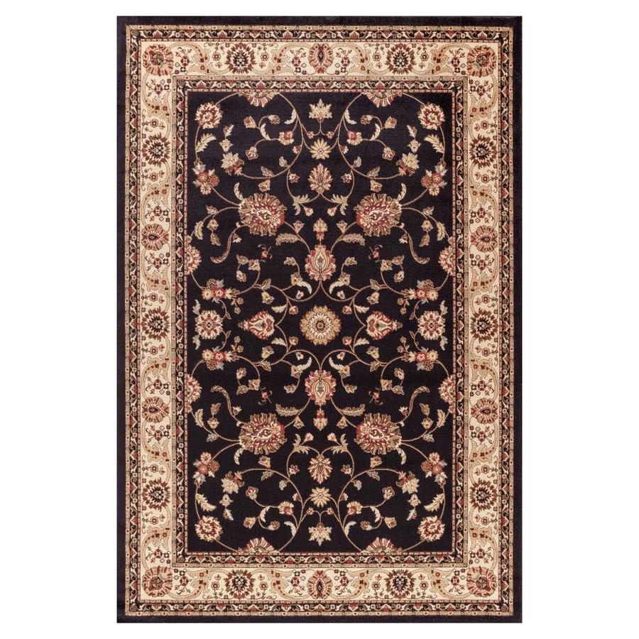 Concord Global Valencia Black Rectangular Indoor Woven Oriental Area Rug (Common: 8 x 10; Actual: 7.83-ft W x 9.83-ft L x 7.83-ft Dia)