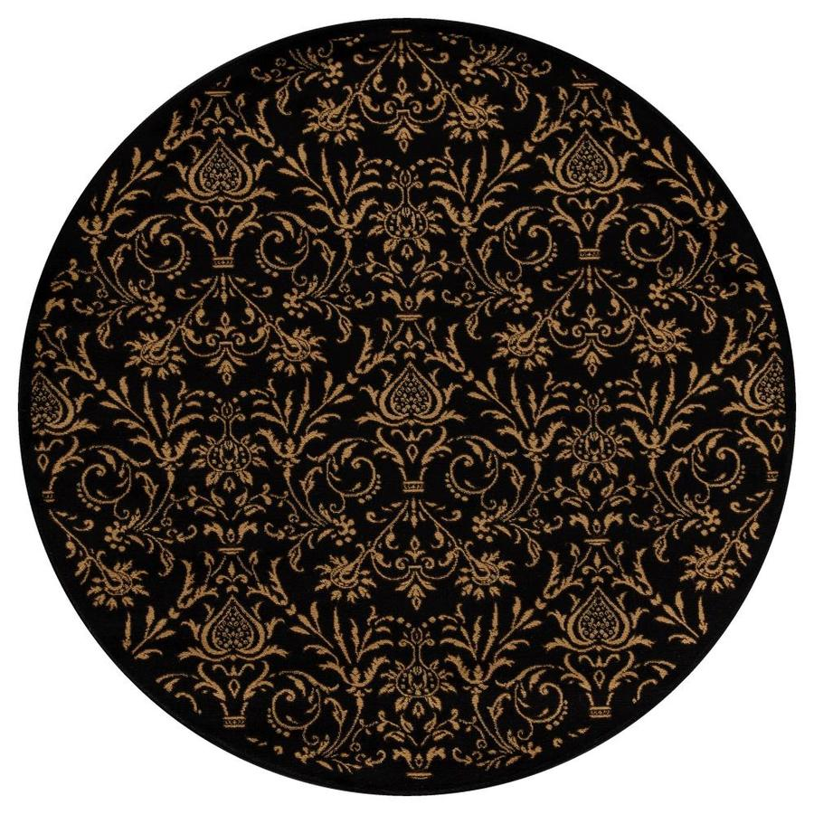 Concord Global Valencia Black Round Indoor Oriental Area Rug (Common: 5 x 5; Actual: 5.25-ft W x 5.25-ft L x 5.25-ft dia)