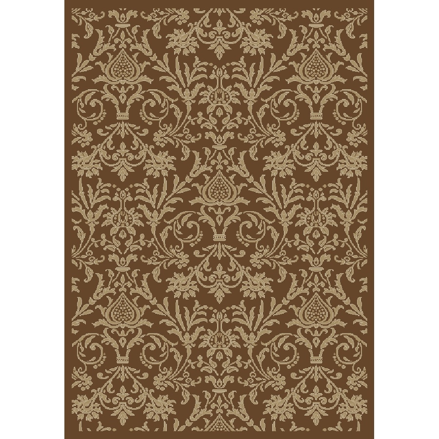Concord Global Valencia Brown Rectangular Indoor Woven Oriental Area Rug (Common: 4 x 6; Actual: 3.92-ft W x 5.58-ft L x 3.92-ft Dia)