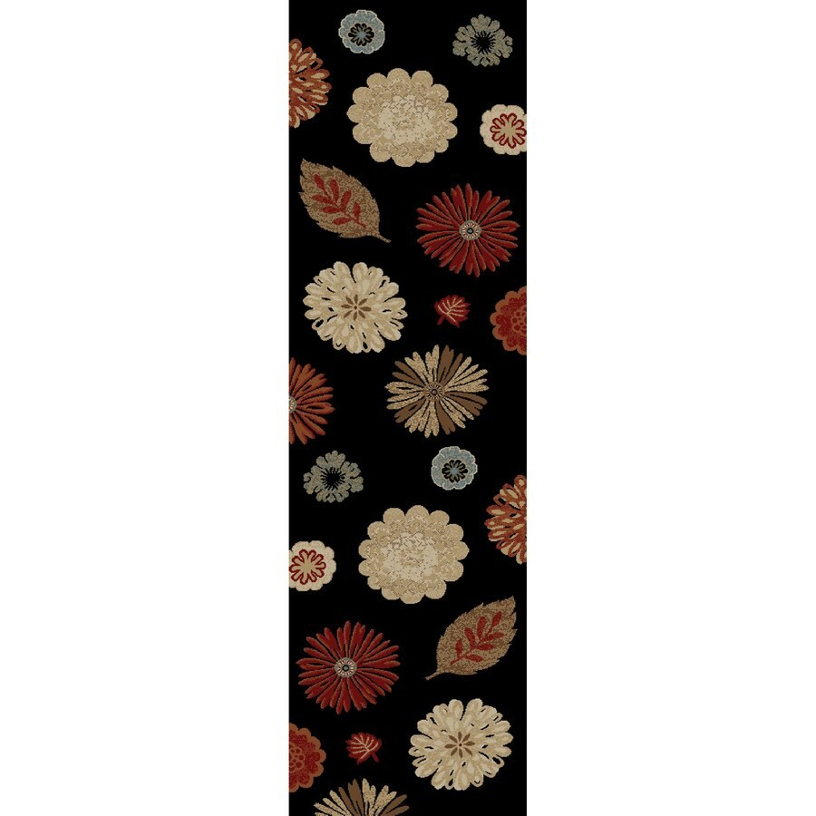 Concord Global Valencia Black Rectangular Indoor Woven Oriental Runner (Common: 2 x 8; Actual: 2.17-ft W x 7.58-ft L x 2.17-ft Dia)