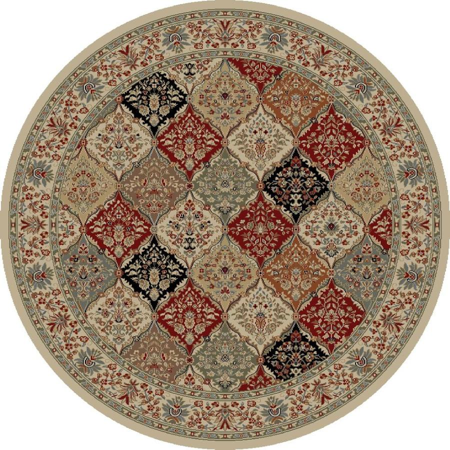Concord Global Florence Ivory Round Indoor Woven Oriental Area Rug (Common: 5 x 5; Actual: 5.25-ft W x 5.25-ft L x 5.25-ft Dia)