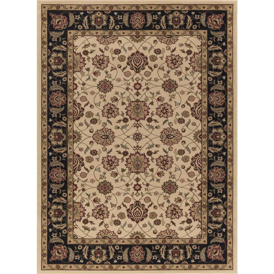 Concord Global Florence Ivory Rectangular Indoor Woven Oriental Area Rug (Common: 4 x 6; Actual: 3.92-ft W x 5.42-ft L x 3.92-ft Dia)