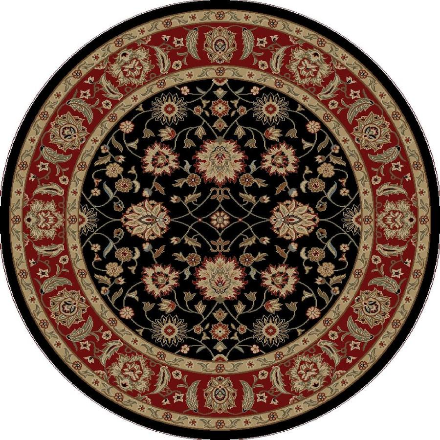 Concord Global Florence Black Round Indoor Woven Oriental Area Rug (Common: 5 x 5; Actual: 5.25-ft W x 5.25-ft L x 5.25-ft Dia)