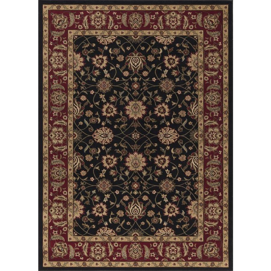 Concord Global Florence Black Rectangular Indoor Woven Oriental Area Rug (Common: 5 x 7; Actual: 5.25-ft W x 7.25-ft L x 5.25-ft Dia)
