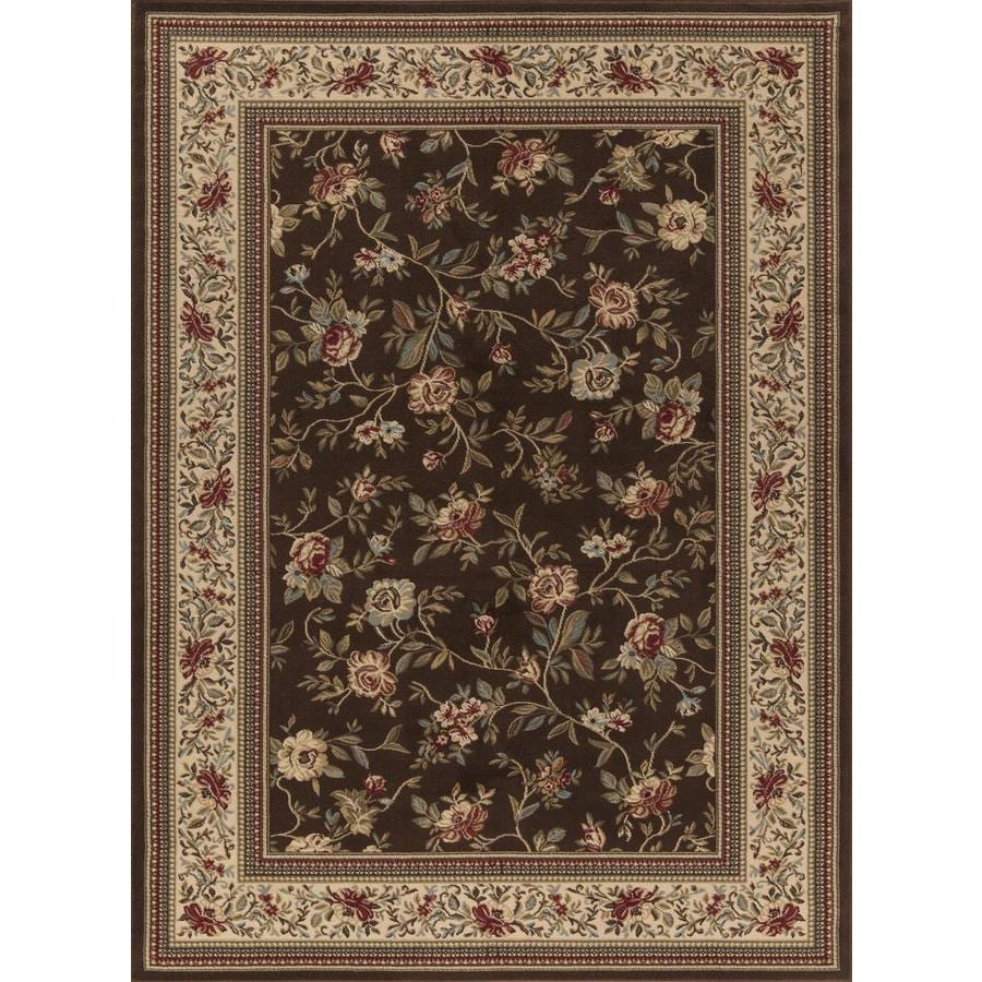 Concord Global Florence Brown Rectangular Indoor Woven Oriental Area Rug (Common: 8 x 11; Actual: 7.83-ft W x 10.83-ft L x 7.83-ft Dia)