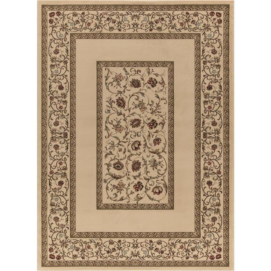 Concord Global Florence Ivory Rectangular Indoor Woven Oriental Area Rug (Common: 5 x 7; Actual: 63-in W x 87-in L x 5.25-ft Dia)