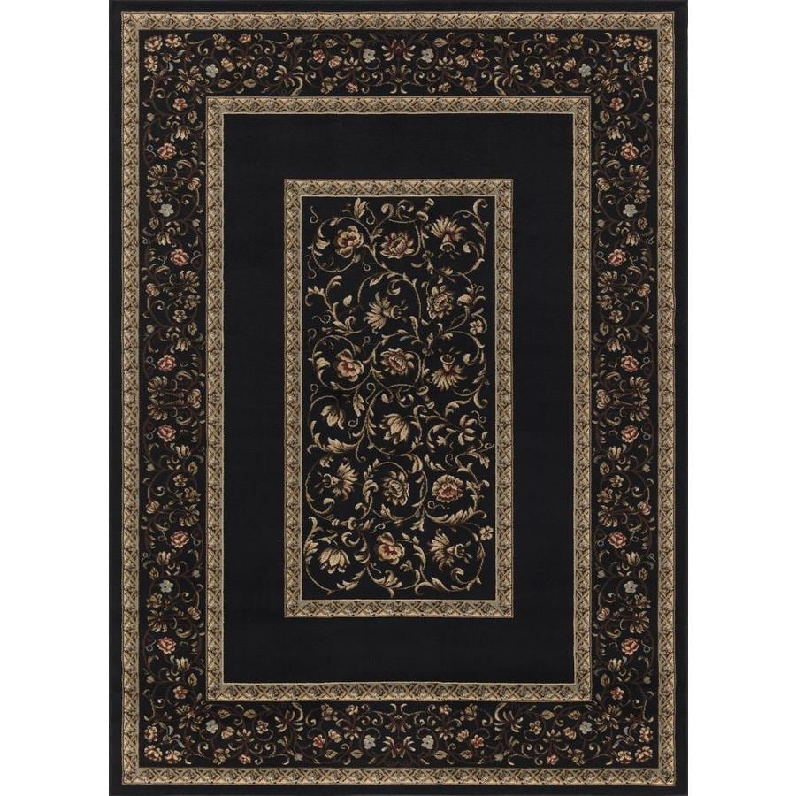 Concord Global Florence Black Rectangular Indoor Woven Oriental Area Rug (Common: 7 x 10; Actual: 6.58-ft W x 9.5-ft L x 6.58-ft Dia)