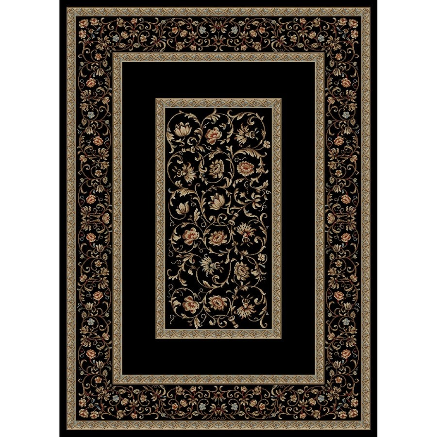 Concord Global Florence Black Rectangular Indoor Oriental Area Rug (Common: 9 x 13; Actual: 9.25-ft W x 12.5-ft L x 9.25-ft dia)