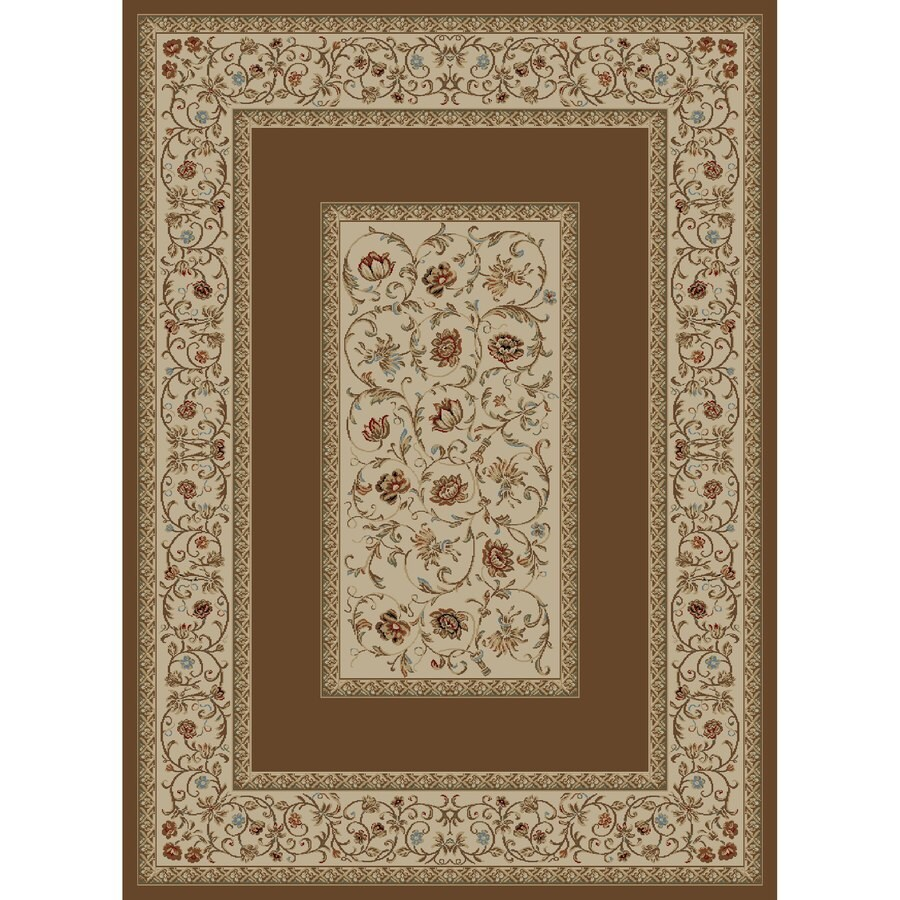 Concord Global Florence Brown Indoor Oriental Area Rug (Common: 9 x 13; Actual: 9.25-ft W x 12.5-ft L x 9.25-ft dia)