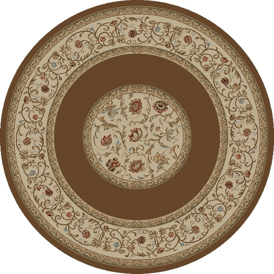 Concord Global Florence Brown Round Indoor Woven Oriental Area Rug (Common: 8 x 8; Actual: 7.83-ft W x 7.83-ft L x 7.83-ft Dia)