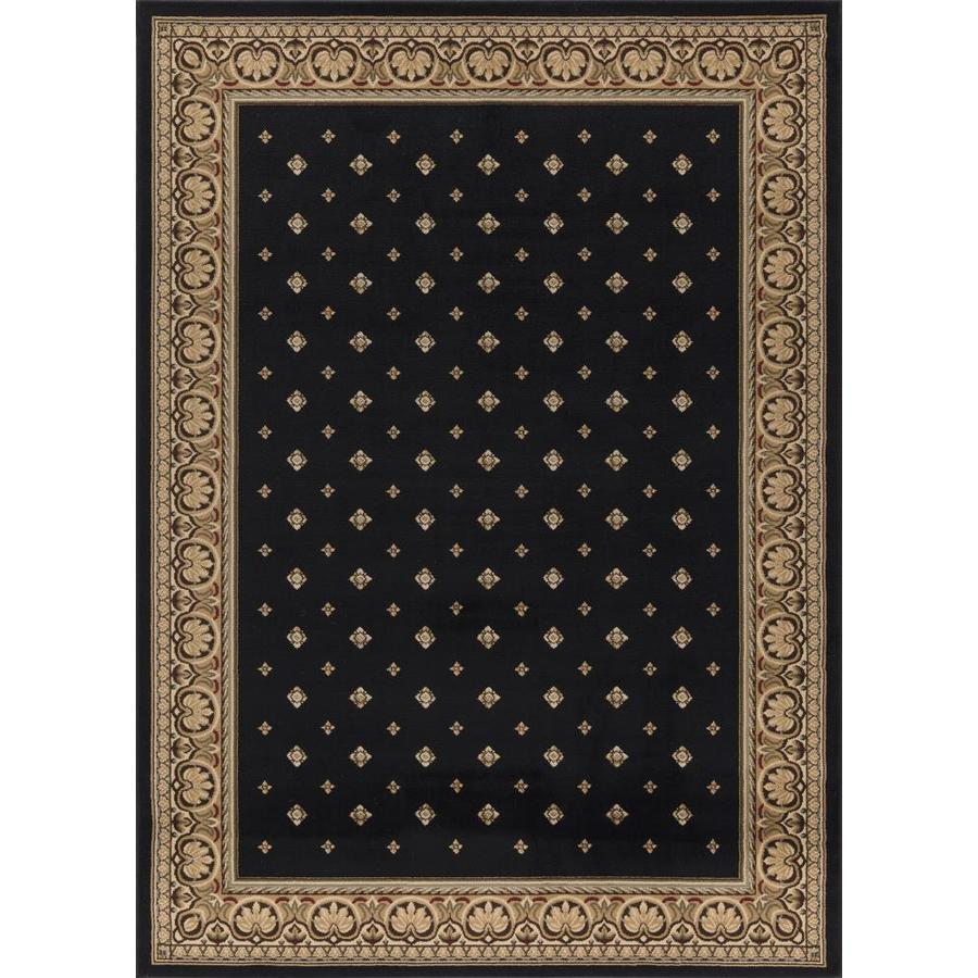 Concord Global Florence Black Rectangular Indoor Woven Oriental Area Rug (Common: 5 x 7; Actual: 63-in W x 87-in L x 5.25-ft Dia)
