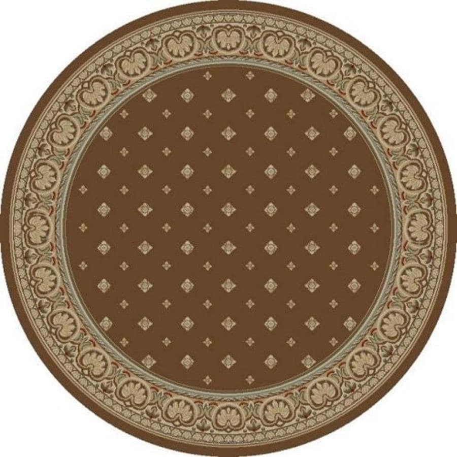 Concord Global Florence Brown Round Indoor Woven Oriental Area Rug (Common: 5 x 5; Actual: 5.25-ft W x 5.25-ft L x 5.25-ft Dia)