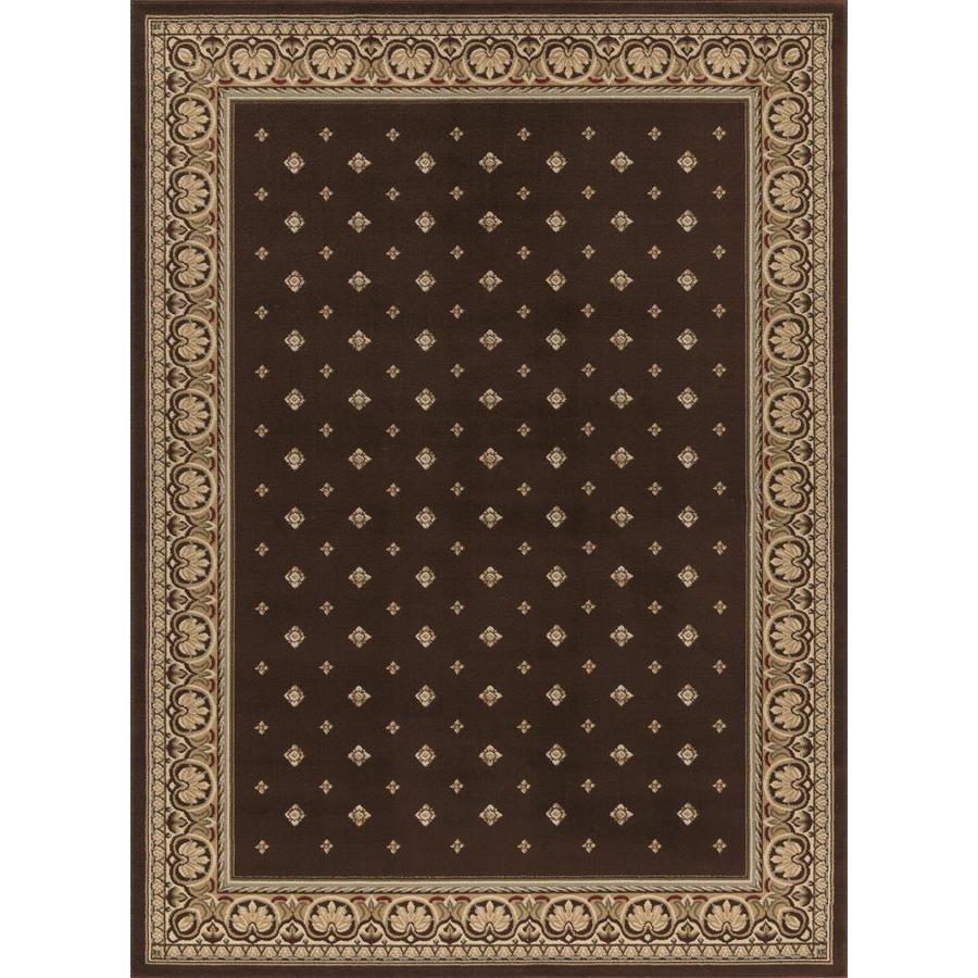 Concord Global Florence Brown Rectangular Indoor Woven Oriental Area Rug (Common: 4 x 6; Actual: 3.92-ft W x 5.42-ft L x 3.92-ft Dia)