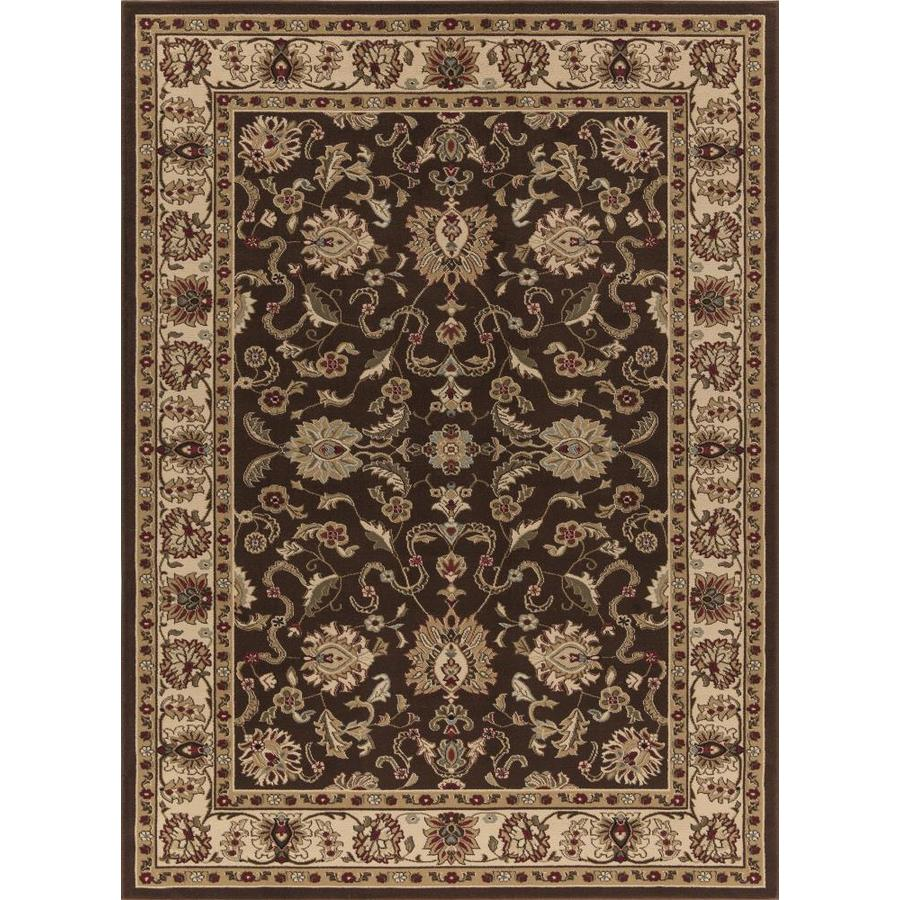 Concord Global Florence Brown Rectangular Indoor Woven Oriental Area Rug (Common: 9 x 13; Actual: 9.25-ft W x 12.5-ft L x 9.25-ft Dia)