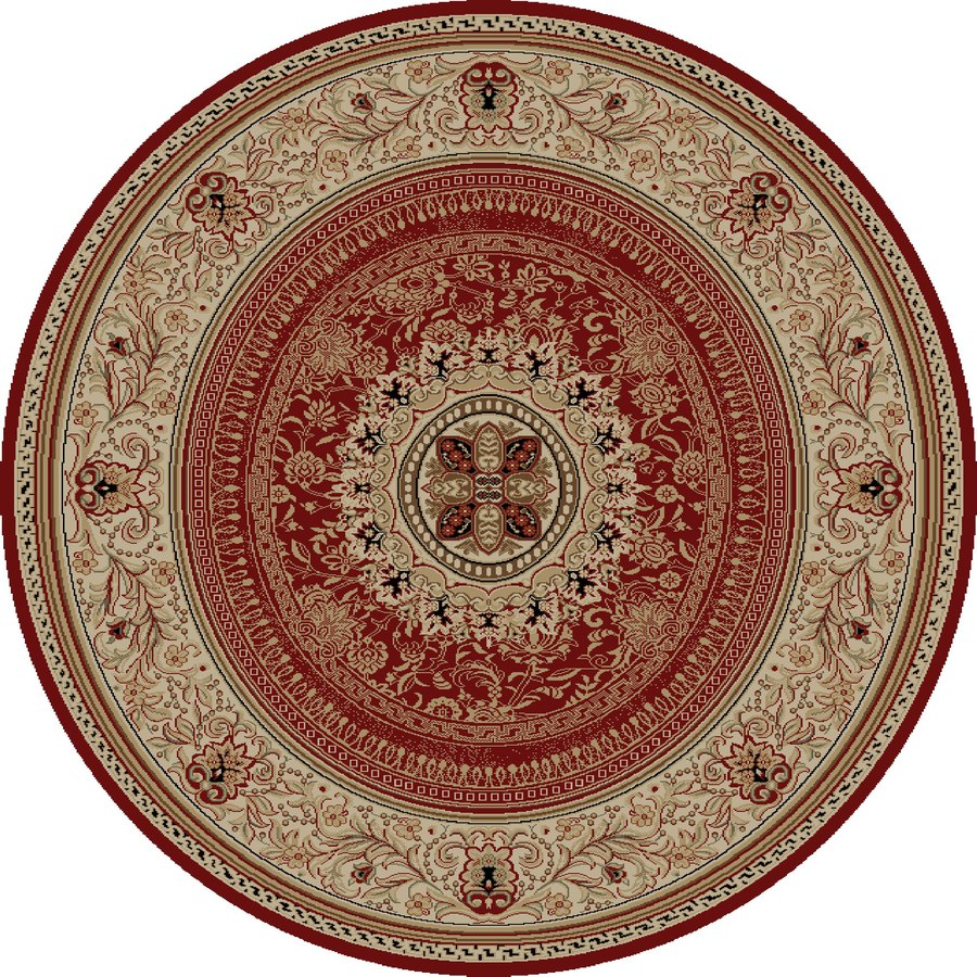 Concord Global Florence Red Round Indoor Woven Oriental Area Rug (Common: 5 x 5; Actual: 5.25-ft W x 5.25-ft L x 5.25-ft Dia)