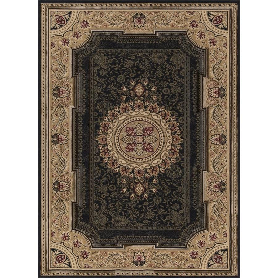 Concord Global Florence Black Rectangular Indoor Machine-made Oriental Area Rug (Common: 8 x 11; Actual: 7.83-ft W x 10.83-ft L x 7.83-ft Dia)