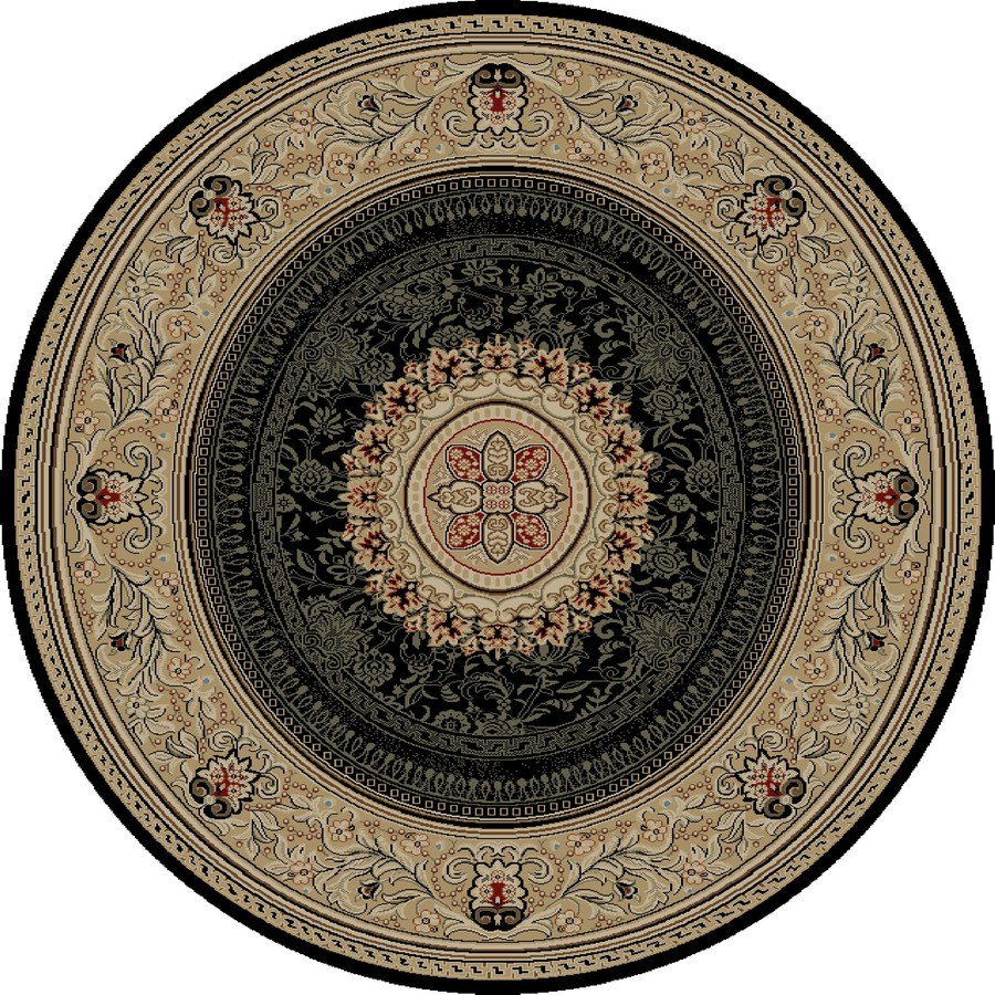 Concord Global Florence Black Round Indoor Woven Oriental Area Rug (Common: 8 x 8; Actual: 7.83-ft W x 7.83-ft L x 7.83-ft Dia)