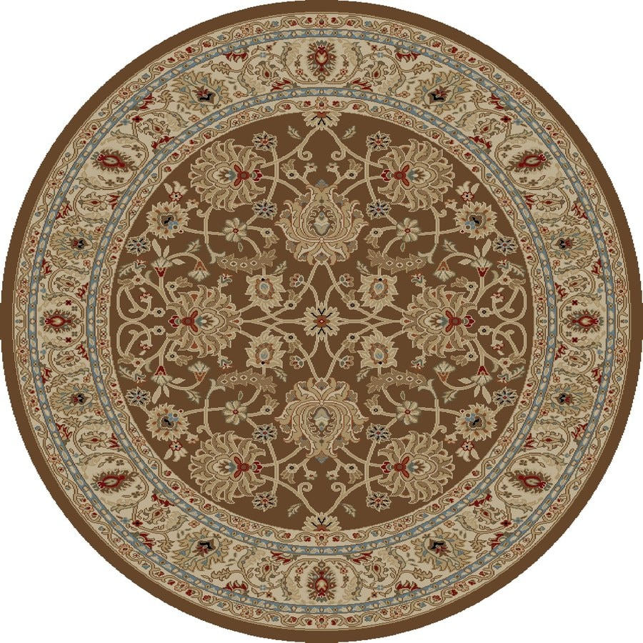 Concord Global Florence Brown Round Indoor Machine-made Oriental Area Rug (Common: 5 x 5; Actual: 5.25-ft W x 5.25-ft L x 5.25-ft Dia)