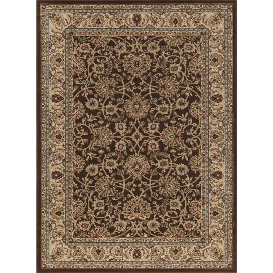 Concord Global Florence Brown Rectangular Indoor Woven Oriental Area Rug (Common: 5 x 7; Actual: 5.25-ft W x 7.25-ft L x 5.25-ft Dia)