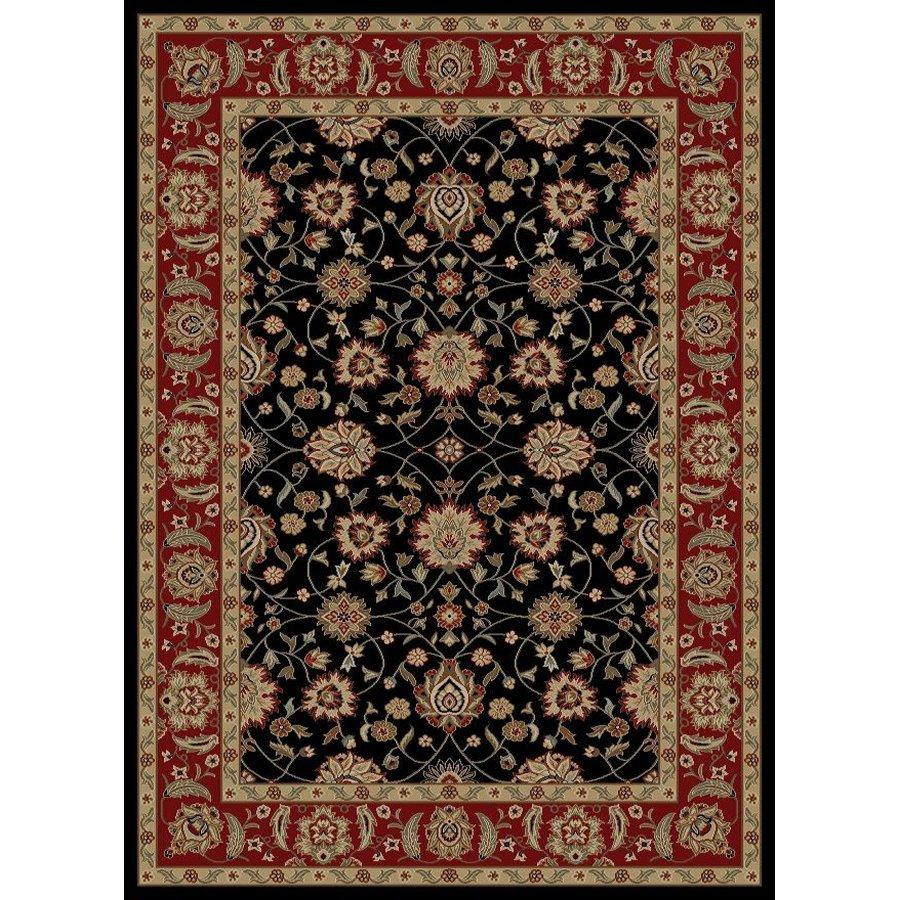 Style Selections Natcher Black Rectangular Indoor Woven Oriental Area Rug (Common: 5 x 8; Actual: 63-in W x 90-in L x 5.25-ft Dia)