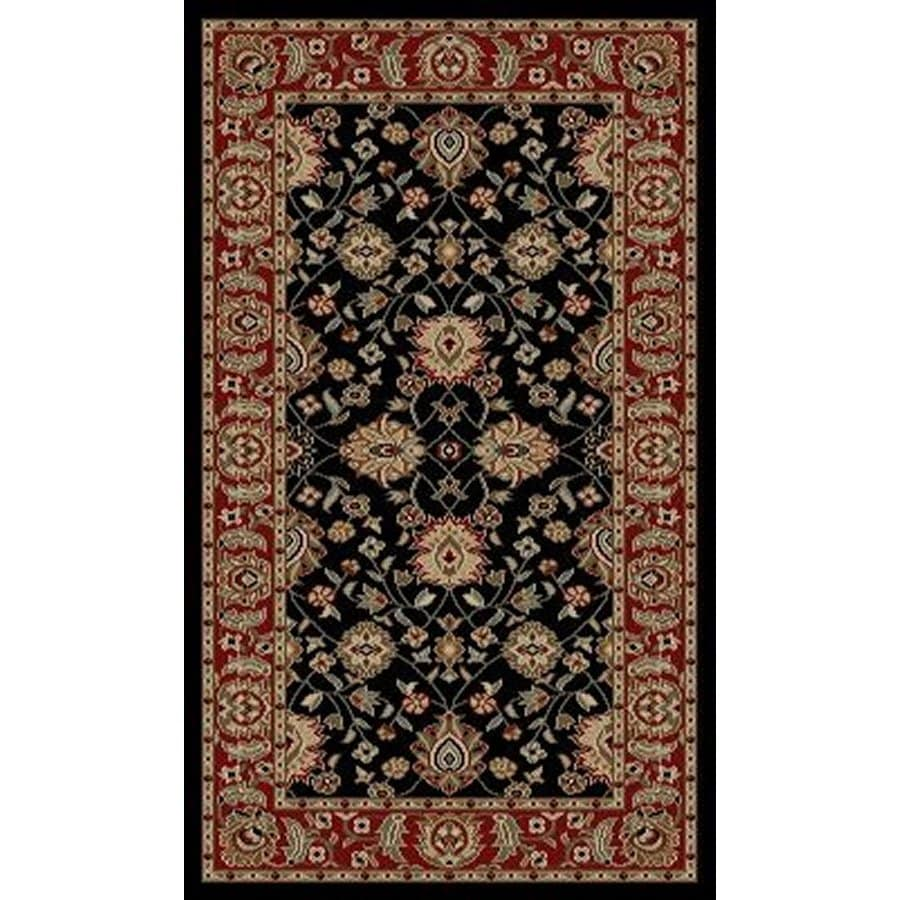 Style Selections Natcher Black Rectangular Indoor Woven Oriental Throw Rug (Common: 2 x 3; Actual: 23-in W x 39-in L x 1.92-ft Dia)