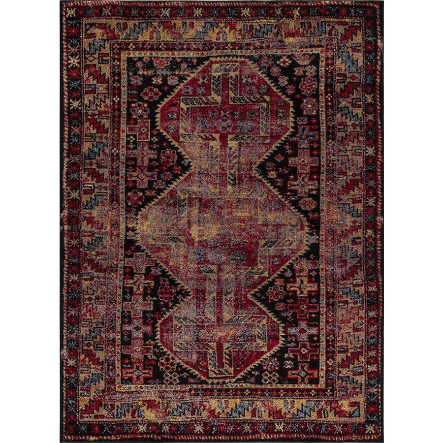 Concord Global Sterling Black/Red Rectangular Indoor Machine-Made Oriental Area Rug (Common: 5 x 8; Actual: 5.25-ft W x 7.25-ft L)