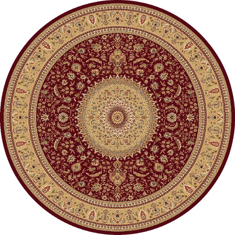 Concord Global Cyrus Red Round Indoor Oriental Area Rug (Common: 5 x 5; Actual: 5.25-ft W x 5.25-ft L x 5.25-ft dia)