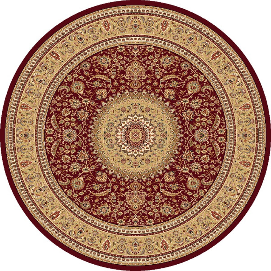 Concord Global Cyrus Red Round Indoor Oriental Area Rug (Common: 8 x 8; Actual: 7.83-ft W x 7.83-ft L x 7.83-ft dia)