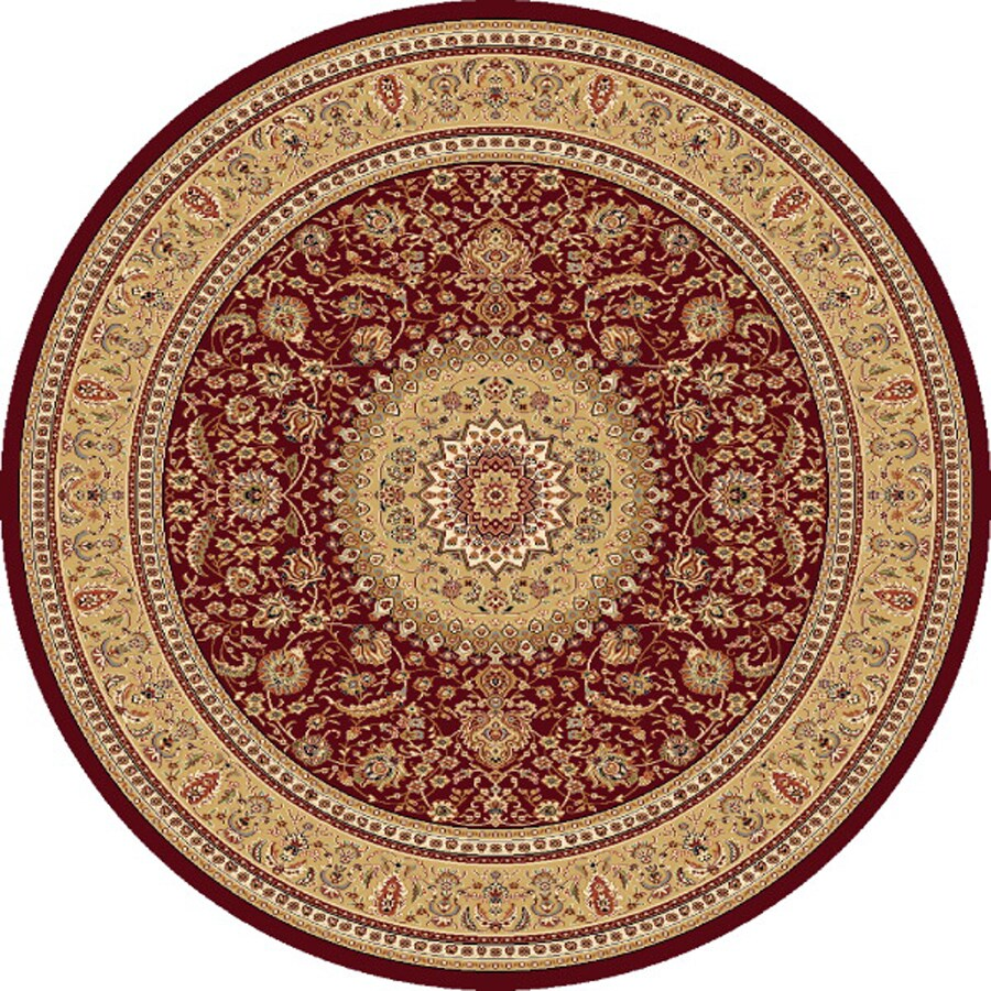Concord Global Cyrus Red Round Indoor Woven Oriental Area Rug (Common: 8 x 8; Actual: 7.83-ft W x 7.83-ft L x 7.83-ft Dia)