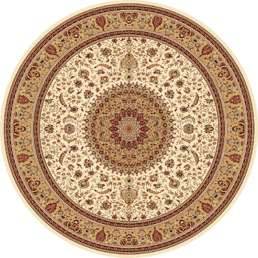 Concord Global Cyrus Ivory Round Indoor Woven Oriental Area Rug (Common: 5 x 5; Actual: 5.25-ft W x 5.25-ft L x 5.25-ft Dia)