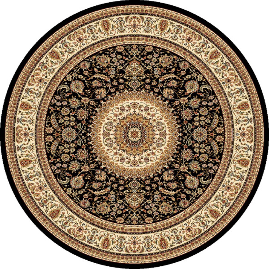 Concord Global Cyrus Black Round Indoor Woven Oriental Area Rug (Common: 5 x 5; Actual: 5.25-ft W x 5.25-ft L x 5.25-ft Dia)