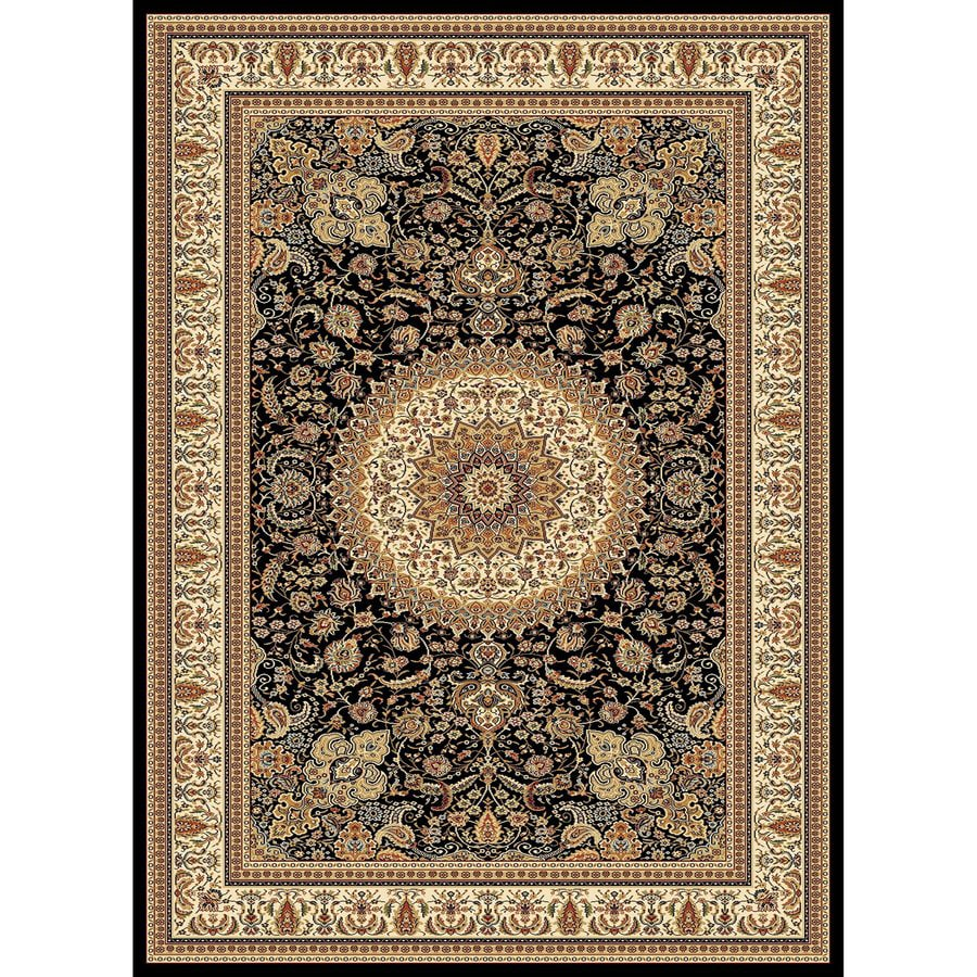 Concord Global Cyrus Black Rectangular Indoor Woven Oriental Area Rug (Common: 5 x 7; Actual: 63-in W x 87-in L x 5.25-ft Dia)