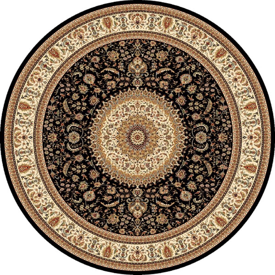 Concord Global Cyrus Black Round Indoor Woven Oriental Area Rug (Common: 8 x 8; Actual: 7.83-ft W x 7.83-ft L x 7.83-ft Dia)