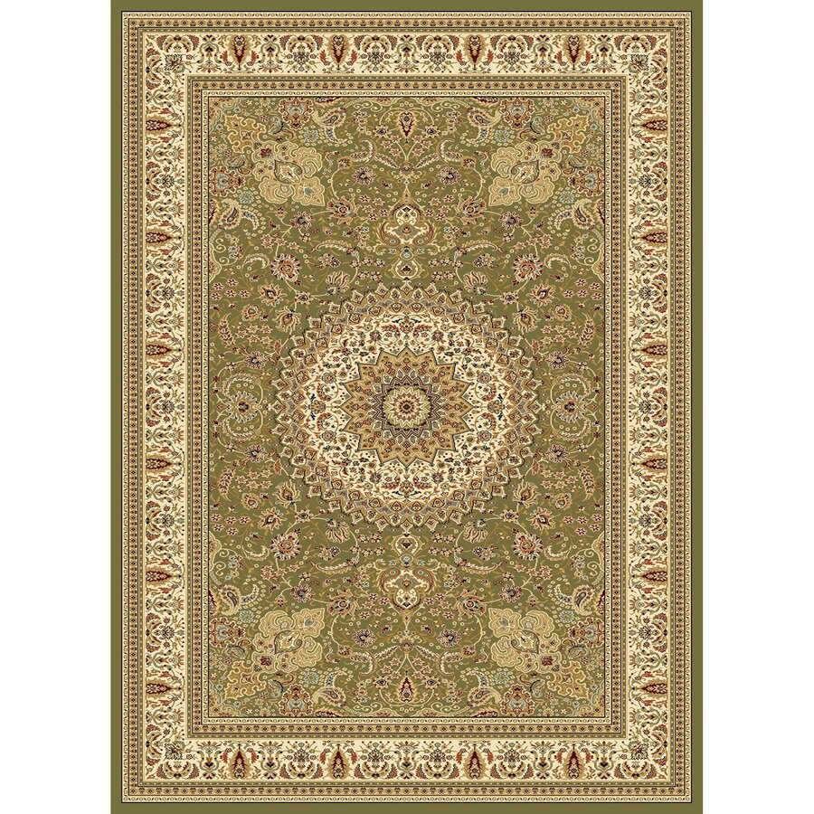 Concord Global Cyrus Green Rectangular Indoor Woven Oriental Area Rug (Common: 5 x 7; Actual: 5.25-ft W x 7.25-ft L x 5.25-ft Dia)