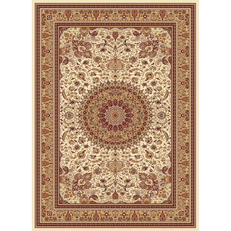 Style Selections Ecklar Cream Rectangular Indoor Woven Oriental Area Rug (Common: 5 x 8; Actual: 5.25-ft W x 7.5-ft L x 5.25-ft Dia)
