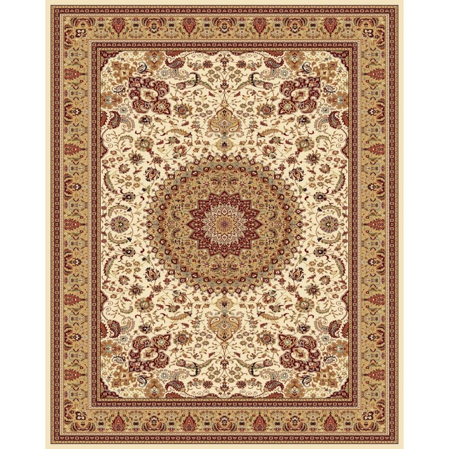 Style Selections Ecklar Cream Rectangular Indoor Woven Oriental Area Rug (Common: 8 x 10; Actual: 7.83-ft W x 9.83-ft L x 7.83-ft Dia)