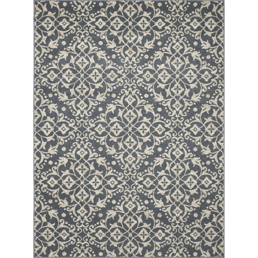 Damask Blue Rectangular Indoor Woven Area Rug (Common: 5 x 7; Actual: 5.25-ft W x 7.25-ft L x 5.25-ft Dia)