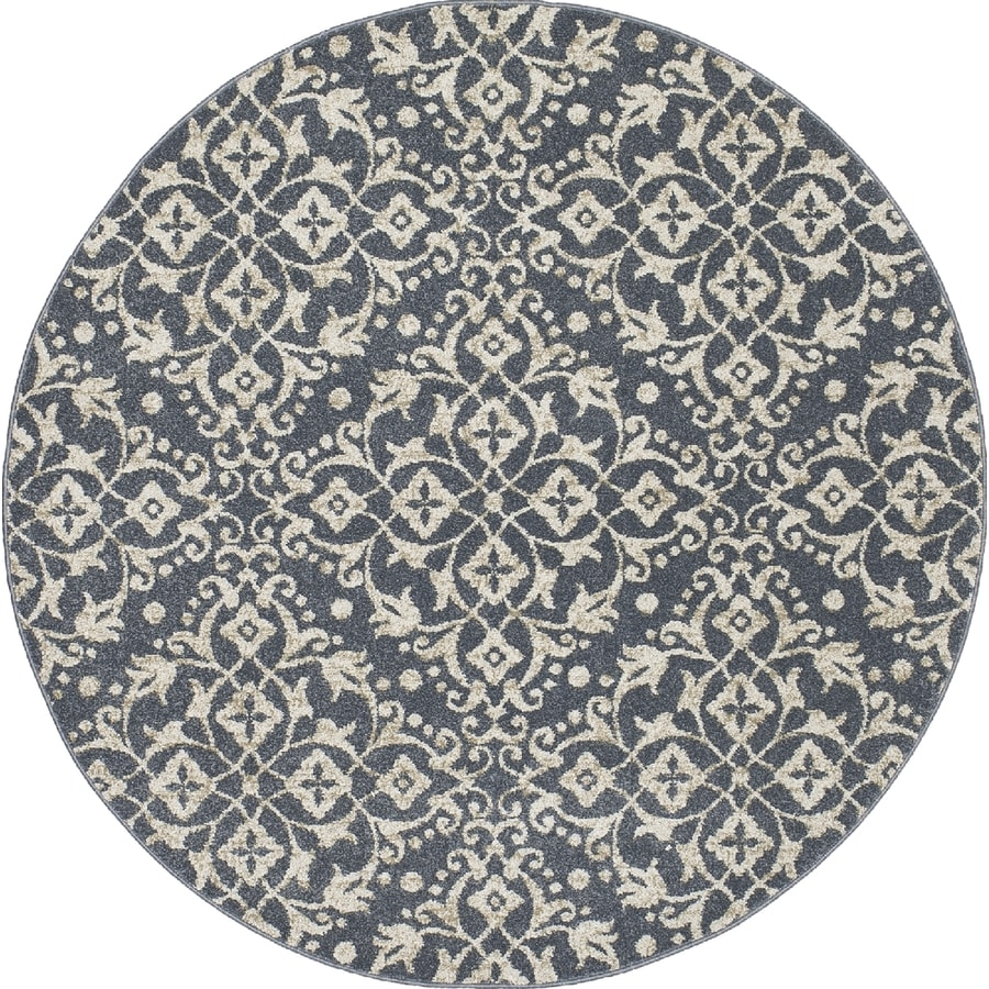 Concord Global Manhattan Blue Round Indoor Area Rug (Common: 5 x 5; Actual: 5.25-ft W x 5.25-ft L x 5.25-ft dia)