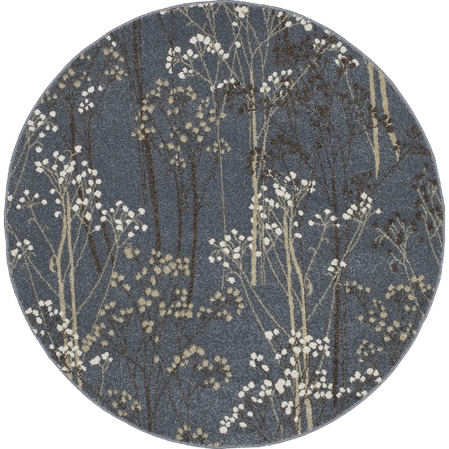 Concord Global Manhattan Blue Round Indoor Woven Area Rug (Common: 8 x 8; Actual: 7.83-ft W x 7.83-ft L x 7.83-ft Dia)