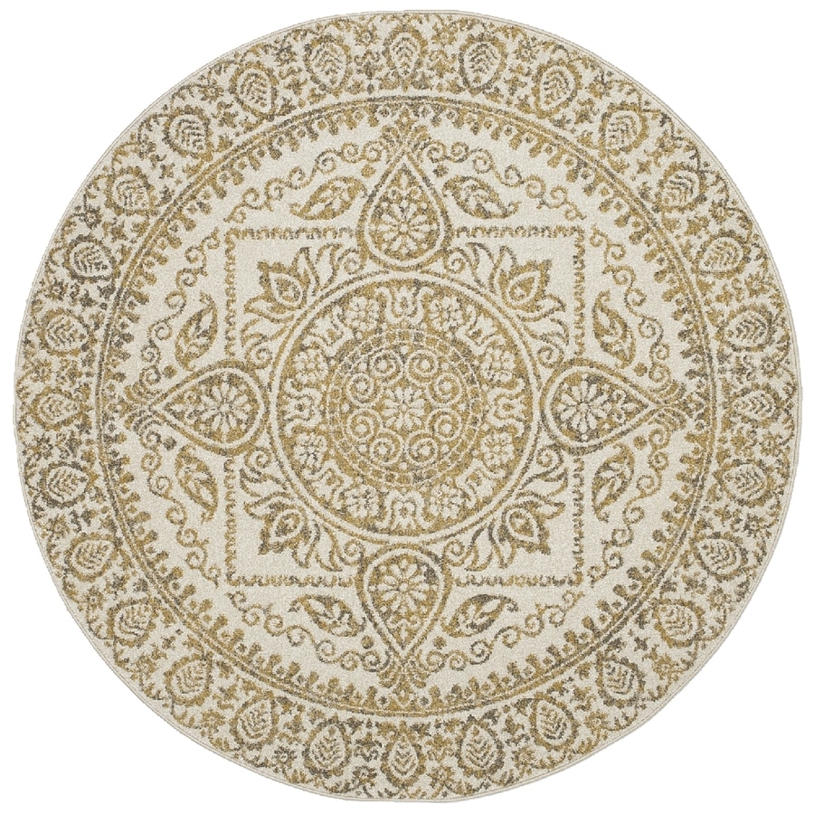 Concord Global Manhattan Yellow Round Indoor Woven Area Rug (Common: 5 x 5; Actual: 5.25-ft W x 5.25-ft L x 5.25-ft Dia)