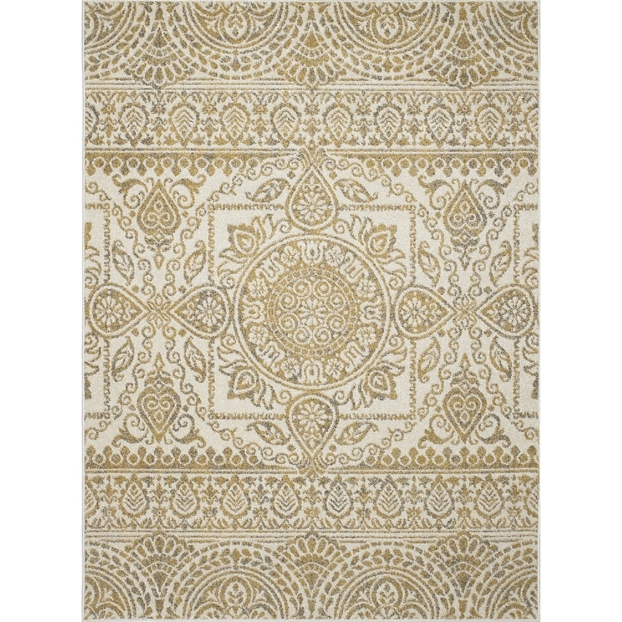 Concord Global Manhattan Yellow Rectangular Indoor Woven Area Rug (Common: 5 x 7; Actual: 5.25-ft W x 7.25-ft L x 5.25-ft Dia)
