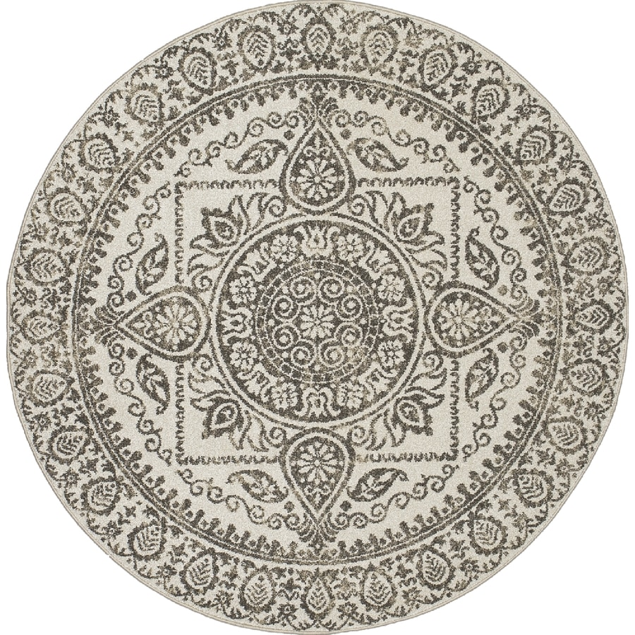 Concord Global Manhattan Gray Round Indoor Woven Area Rug (Common: 8 x 8; Actual: 7.83-ft W x 7.83-ft L x 7.83-ft Dia)