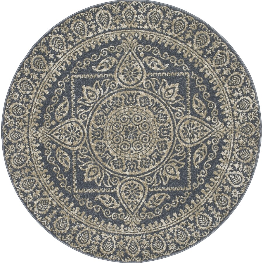 Concord Global Manhattan Blue Round Indoor Area Rug (Common: 8 x 8; Actual: 7.83-ft W x 7.83-ft L x 7.83-ft dia)